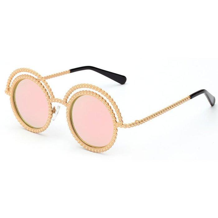[馳騁]2001現貨7-11全家快速到貨韓國韓版鏡框墨鏡太陽眼鏡鏡框2016新款小香金屬珠子概念款太陽鏡 沙灘反光墨鏡批