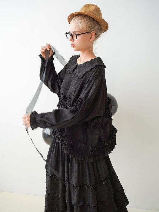 【鈷藍家】甜美個性法式復古娃娃領襯衫女秋季寬松大碼木耳荷葉花邊波點上衣