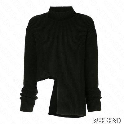 【WEEKEND】 ELLERY 缺口 不規則下擺 高領 長袖 針織 上衣 黑色 18秋冬