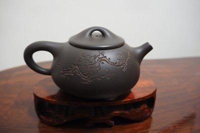 早期柴燒窯變老紫砂石瓢壺