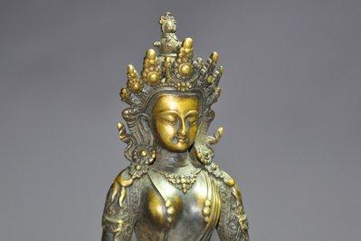 【緣古】老件 銅 長壽佛座像