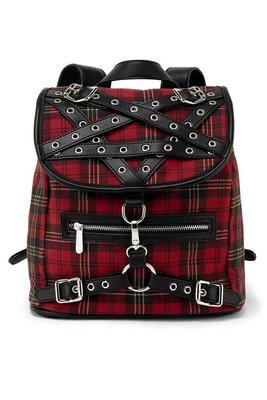 【丹】KS_Menace Backpack 紅色 交錯 網格 後背包 肩背包 側背包