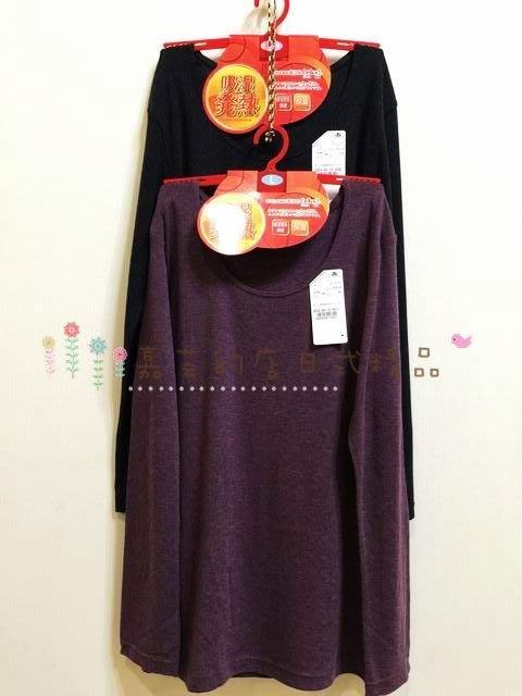 嘉芸的店 日本東洋紡織 吸濕發熱纖維 高保溫素材 日本圓領素面衛生衣 日本保暖衣 日本發熱衣(NO 3658)