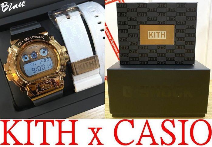 BLACK全新KITH x CASIO全厚實金屬打造DW-6900冷光just us玫瑰金G-SHOCK電子錶(黑/白)