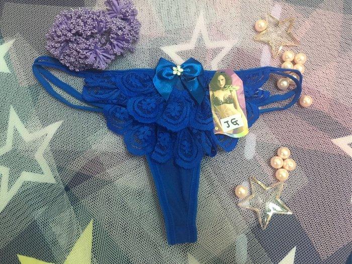 ⭐️謎音的尋寶樂園⭐️夢幻蕾絲水鑽丁字褲♥️(丁藍G)♥️