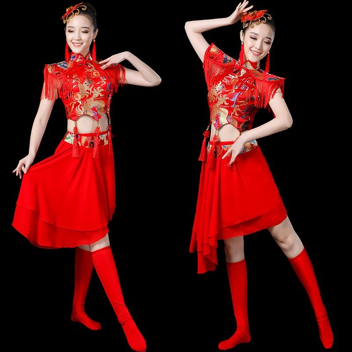 舞造天-2018新款秧歌服舞蹈服裝現代中國風時尚打鼓服水鼓舞演出服女成人