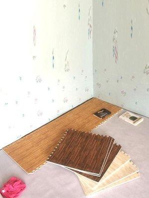 木紋泡沫地墊60x60拼接墊子兒童爬爬墊拼接加厚榻榻米墊   IGO