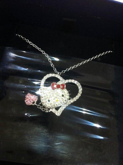 《東京家族》Kitty凱蒂貓 愛心 SWAROVSKI施華洛世奇 晶鑽項鍊