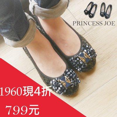 全真皮娃娃鞋優雅巴洛可可水鑽蝴蝶結-真皮牛皮大理石紋-超軟舒適-2☆╮喬伊公主╭☆【JCB837-2】專櫃3280限時