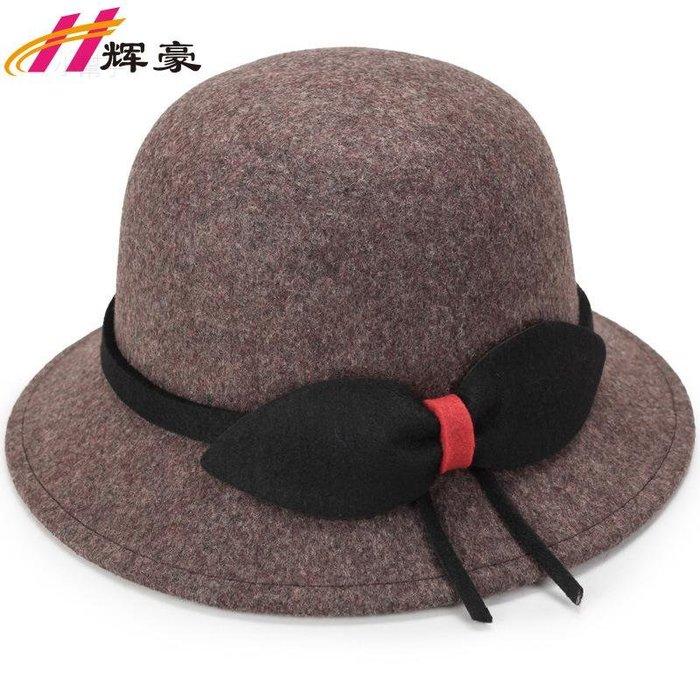 時尚韓版羊毛定型帽女士秋冬款歐美呢帽保暖帽子時尚禮帽(優品小舖)