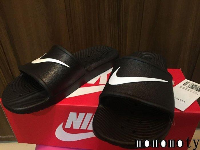 NIKE KAWA SHOWER SWOOSH 黑白 輕量 LOGO 大勾勾 防水 拖鞋 832528-001 先問庫存