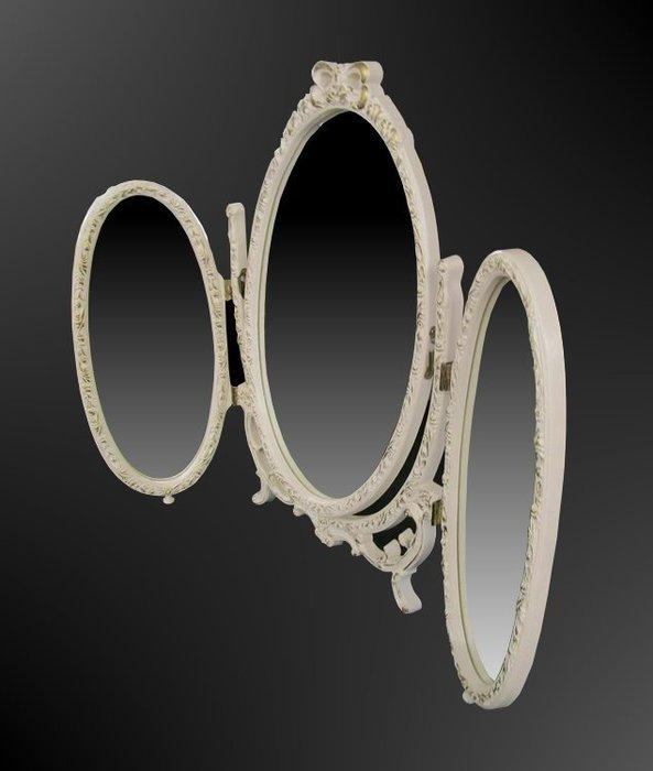 【家與收藏】限時賠售特價稀有珍藏歐洲古董法國古典華麗精緻巴洛克花卉浮雕三面鏡/桌鏡3(小款)