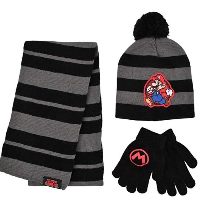 預購 美國帶回 Nintendo Super Mario 超級瑪麗兄弟 童趣款 保暖 球球帽 圍巾 手套 生日禮