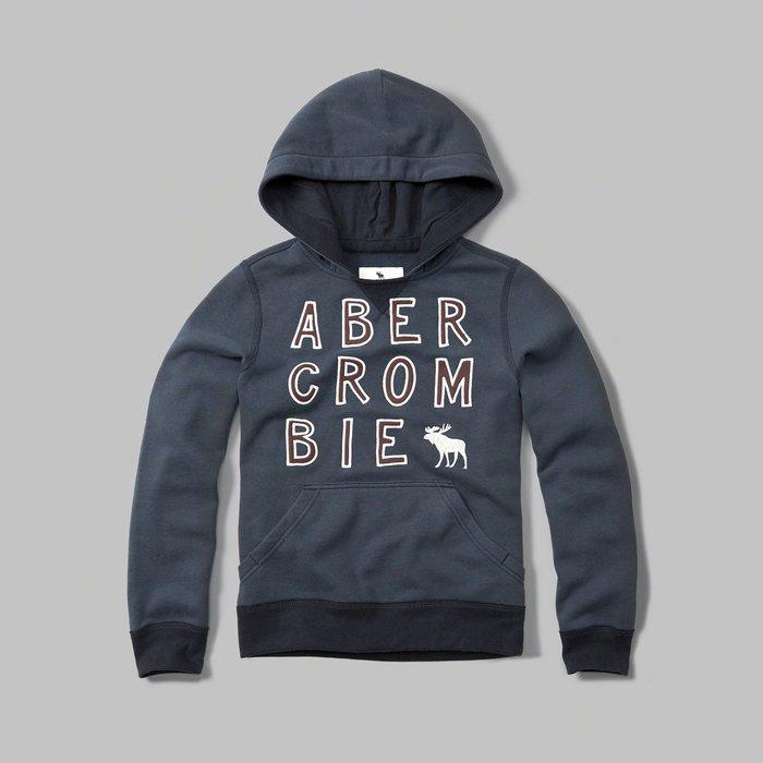 美國百分百【Abercrombie & Fitch】帽T 連帽 AF 長袖 上衣 麋鹿 深藍 男 女 XS S H336