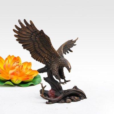 純銅老鷹擺件家居裝飾品客廳桌面擺設風水銅質工藝品 雙福291