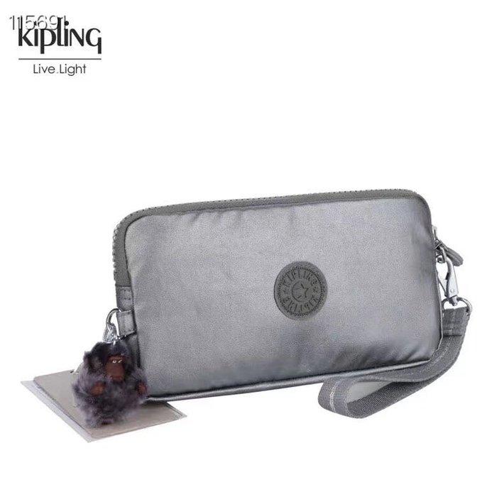 Kipling 猴子包 金屬銀灰 K70109 拉鍊手掛包 零錢包 長夾 手拿包 鈔票/零錢/卡包 輕便多夾層 防水 限量