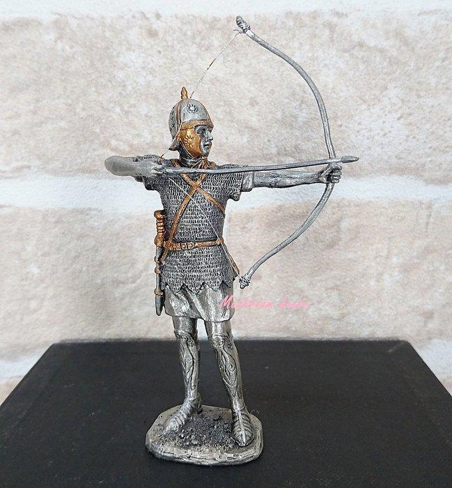 點點蘑菇屋 歐洲精品合金中古武士(十二)~羅馬士兵站姿拉弓擺飾 弓箭手 鐵甲武士 歐洲中古世紀羅馬 盔甲武士 現貨