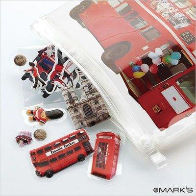 【日本空運 MARK'S Flake 英倫風 雙層巴士 泰迪熊 馬汀尼 可愛夾鍊袋+立體貼紙】*YOOWOO*