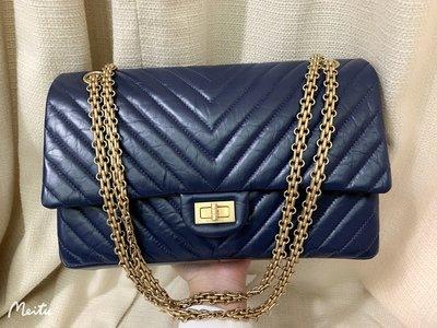 小巴黎二手名牌~九新真品 Chanel reissue 2.55 復刻 藍金鍊包 經典 28CM 雙蓋 26開