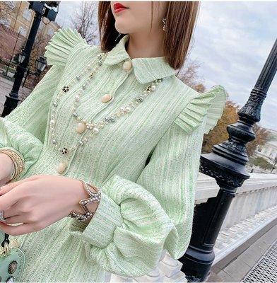 燈籠公主長袖洋裝綠色金絲翻領荷葉邊壓褶裝飾優雅修身洋裝許願魔鏡@wishing Mirror-*-TL18236