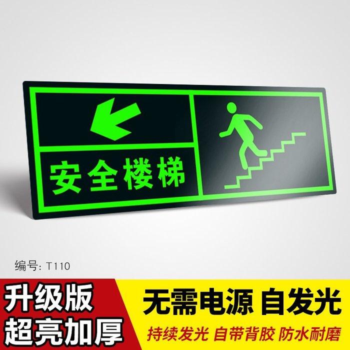 SX千貨鋪-安全出口夜光指示牌樓梯通道墻貼警示提示牌 小心臺階地滑熒光疏散標牌 消防夜光標牌安全疏散指示提示牌PVC