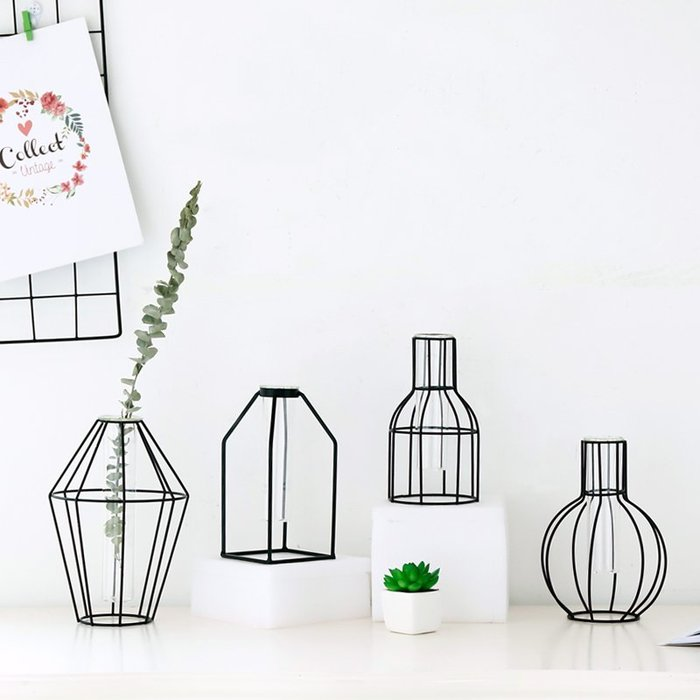 #創意 裝飾品 居家北歐風格裝飾簡約玻璃綠蘿水培干花假花插花客廳餐桌花瓶擺件擺設
