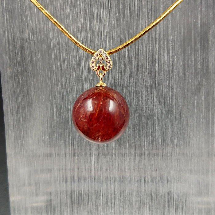 ~水晶花園~ 紅銅鈦晶墜子(不含鍊子)(純銀)