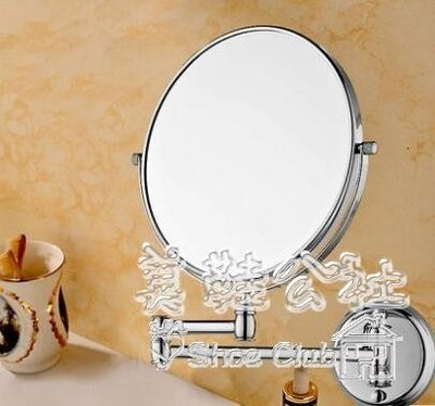 『格倫雅品』壁掛浴室化妝折疊衛生間伸縮美容鏡 英寸大號高清雙面