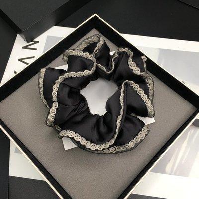 JM 韓國飾品 髮飾 簡約氣質緞面蕾絲網紗拼接髮圈 馬尾髮圈 髮束