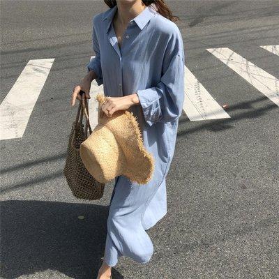 Freedom.~19春季新款超火純色韓國chic復古優雅風寬松襯衫式長款連身裙