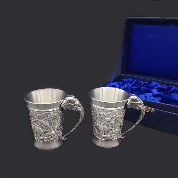 5Cgo【茗道】含稅會員有優惠 41372038692 泰國純進口錫器對酒杯套裝錫杯錫制商務工藝禮品禮盒裝送禮佳品