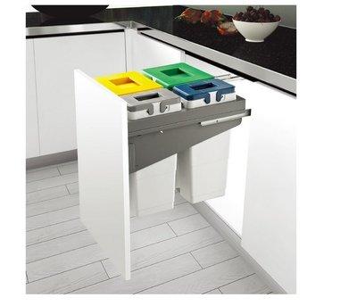 ╭☆魔法廚房 系統櫥櫃內專用專利分類垃圾桶F1703 (2大) 附框架滑軌組 F1705(2大2小)價格另計