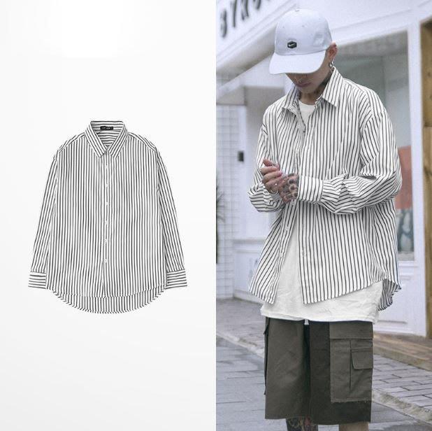 【NoComment】美式街頭休閒 百搭黑白長袖條紋襯衫 兩色 Uniqlo Undefeted