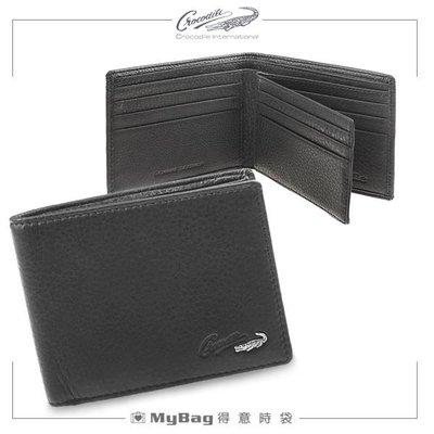 Crocodile 鱷魚 皮夾 時尚簡約 8卡窗格短夾 黑色 0103-07402 得意時袋