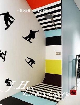 J.H壁貼☆G255滑板 滑雪-運動系列☆牆壁玻璃櫥窗貼紙壁紙 民宿套房 衛浴寢具寢室 家具家電家飾 電視 床 沙發背牆