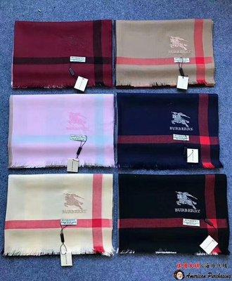 美國大媽代購 Burberry 巴寶莉 經典格紋  獨特新穎LOGO刺繡 羊絨圍巾 披肩 英倫時尚 美國outlet代購