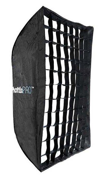呈現攝影-Phottix Pro 傘式柔光罩60x90cm 附網格 玻璃纖維傘骨 外黑內銀 長方罩 閃光燈
