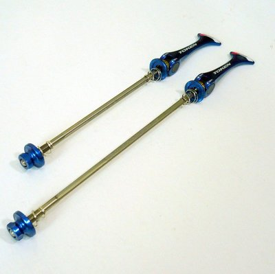 【vsmart】TOKEN 超輕量鯊尾鈦柄Y槽軸心鋁合金快拆 登山車專用 45g 藍色 A50
