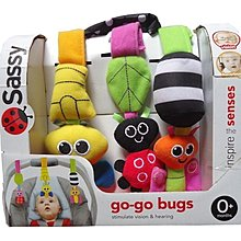 ☆奇奇娃娃屋(CP)☆Sassy品牌,昆蟲跳跳組,汽座.推車.小床可掛,風鈴,響紙,搖鈴(3隻一套)新款~280元