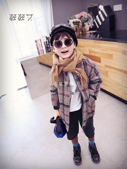 有家服飾寶寶夾克時髦男童秋冬外套洋氣兒童呢子大衣新款女童毛呢外衣