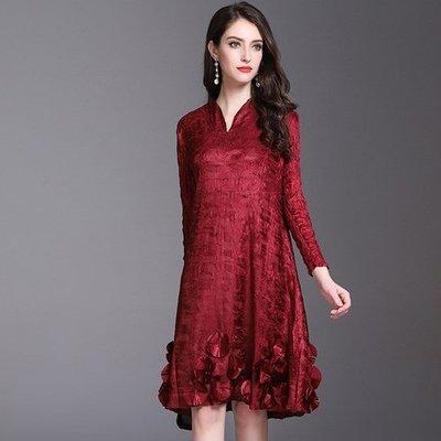 長袖洋 裝 連身 長裙-純色立體花朵秋裝女裙子3色73yf41[獨家進口][米蘭精品]