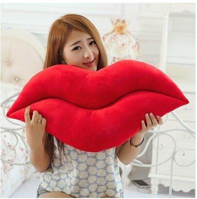 創意搞笑紅唇嘴唇抱枕辦公室靠墊靠枕毛絨玩具送女生結婚生日禮品