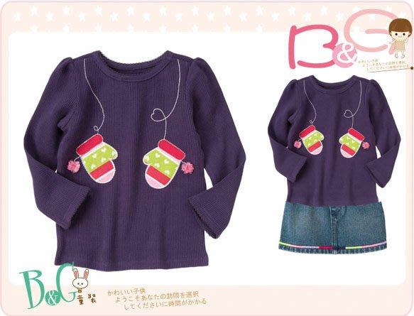 【B& G童裝】正品美國進口Crazy8手套圖樣紫色長袖上衣3yrs