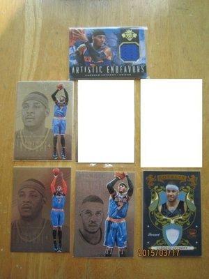 網拍讀賣~尼克隊~Carmelo Anthony~甜瓜~銀版特卡~限量球衣卡/149/499~亮面~5張一起賣