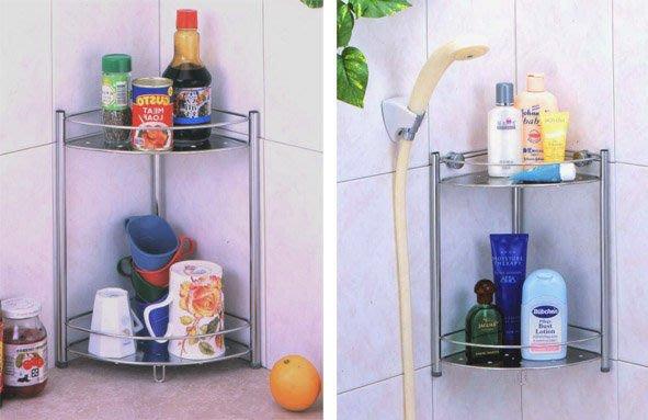 ☆成志金屬☆ s-651-1b 不銹鋼廚房、浴室二、三層--角落瓶罐架置物架--壁掛式