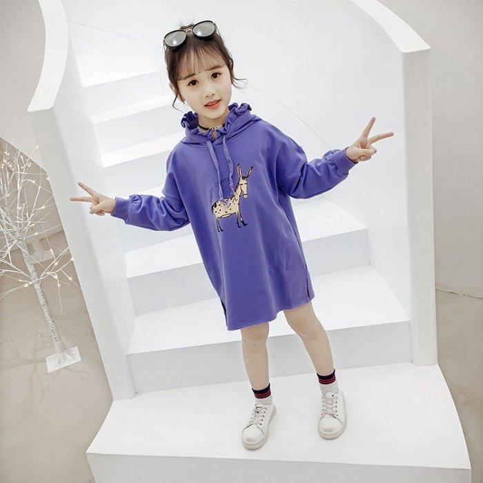春款小鹿衛衣裙新款洋氣印花中長款連帽女童上衣裙中長裙SF54145