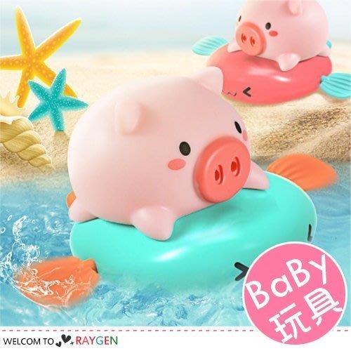八號倉庫【2X074M757】小豬騎飛魚按捏噴水寶寶洗澡玩具 上鏈戲水玩具