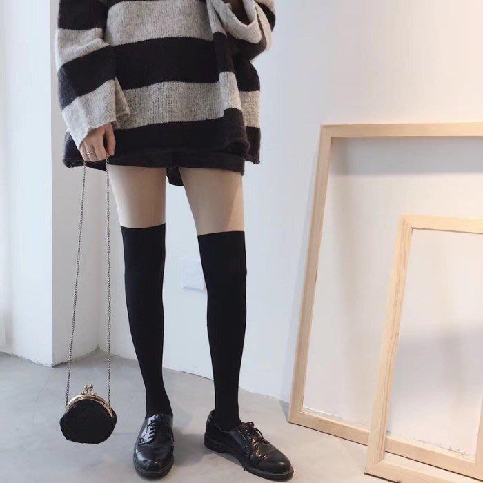 現貨 韓國 假兩件拼色 膝上襪 絲襪 褲襪CC KOREA ~ Q18526