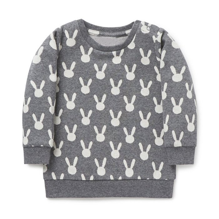 ☆草莓花園☆BM-2835灰色小兔 歐美風兒童長袖衣服 純棉童T 女童  童T恤