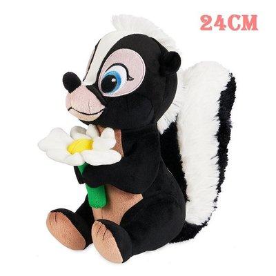 【美國大街】正品.美國迪士尼小鹿斑比鼬鼠小花絨毛娃娃鼬鼠絨毛娃娃 Flower 9.5吋 / 24cm
